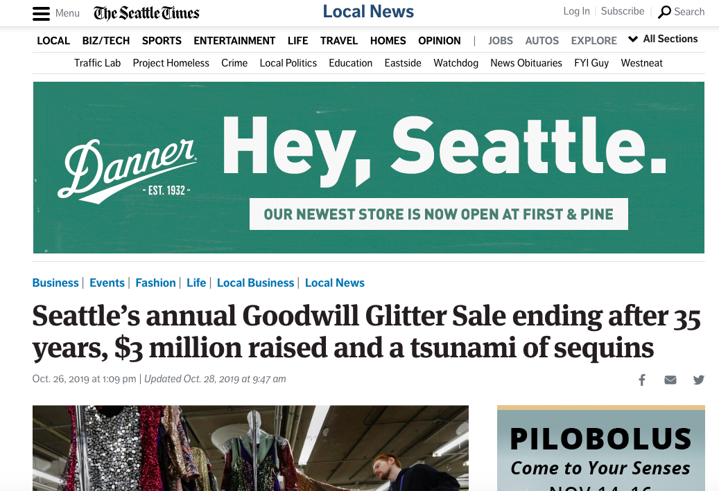 I was featured in the Seattle Times article about the Seattle Goodwill 35th Annual Glitter Sale and why it's the last