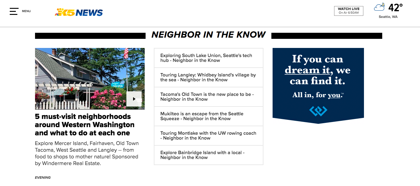 "KING 5 Evening ""Neighbor in the Know"" brought to you by Windermere"
